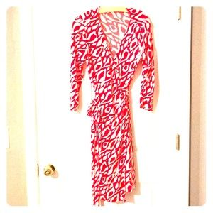 Red & White Wrap Dress, Size 8P